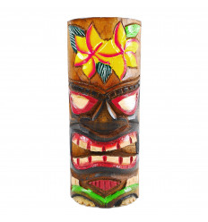Totem Tiki l'artigianato del legno. Modello di fiore di 25cm. Trofeo avventura.