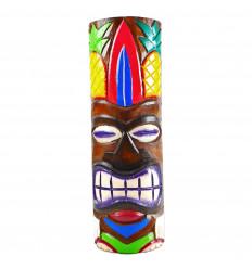 Totem Tiki en bois artisanal. Modèle ananas 48cm. Déco exotique maori.
