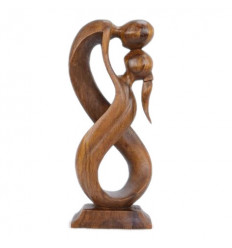 Statue abstract couple Union Infinite h30cm solid wood tint brown