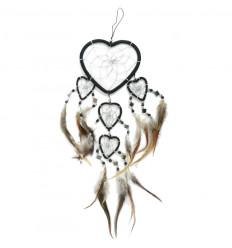 Attrape-rêves 5 anneaux forme Coeur 45x20cm - Noir