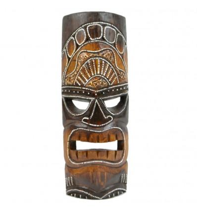 Tiki mask h30cm wood. Decoration Maori Tahiti Polynesia.