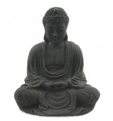 Statuette Bouddha en pierre noire, décoration zen autel bouddhiste.