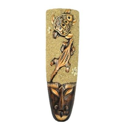 Masque Africain 50cm décor Salamandre, Tortue, sable et coquillages.