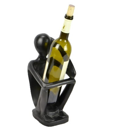"Display stand for bottle of wine ""Thinker"" - wood finish hue of ebony."
