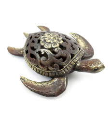 Statue sea turtle in bronze, object deco gift idea turtle.