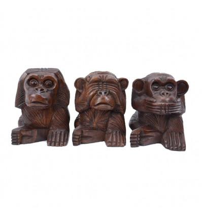 Déco les 3 singes de la sagesse, statues en bois secret du bonheur .