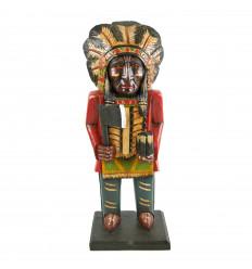 Totem pole capo indiano del nord America. In legno massello H50cm.
