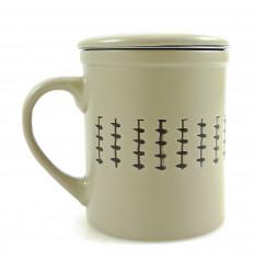 Mug infuseur à thé 340ml. Style ethnique beige.