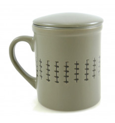 Mug infuseur à thé 340ml. Style ethnique gris.