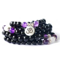 Mala tibétain, bracelet pierre semi-précieuse 108 perles onyx noir.