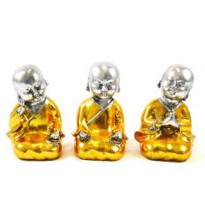 Baby Buddha: 3 statuette in resina laccata oro e argento 15cm