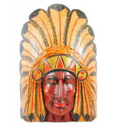Large chief mask american indian with headdress of feathers - painted wood 50cm