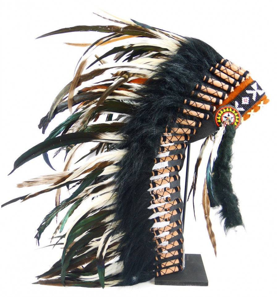 with Feather Detail Gift Boxed Silver Painted Indian Chief Headdress Pendant