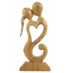 Statua Coppia in Fusione h30cm raw in legno - idea regalo di nozze di legno.