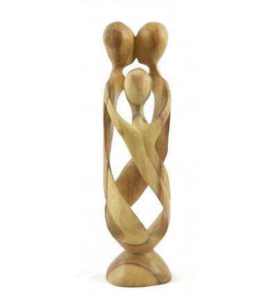 Statuette abstraite Famille h30cm en bois finition brute. Cadeau style ethnique.