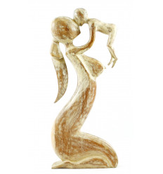 Great statue gift birth mom baby h50cm wood-carving.