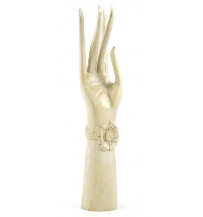 Big hand of Buddha / Display box jewelry solid wood H40cm white brushed