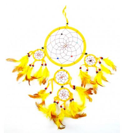 Grand attrape-rêves artisanal 50x25cm en velours jaune