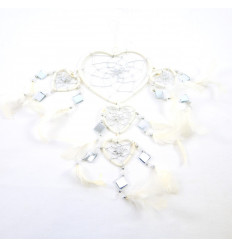 Gigante dream catcher originale forma di Cuore 45x20cm - Bianco