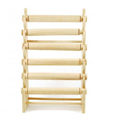 Display di grandi dimensioni, bracciali e orologi 6 aste in legno massello lordo