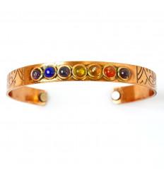 Bracelet / Jonc 7 chakras en cuivre magnétique
