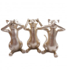 Decorated statuettes of cats of the wisdom / secret of happiness. Golden.