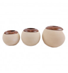 Lot of 3 candle holders round stone beige, deco zen and ethnic.