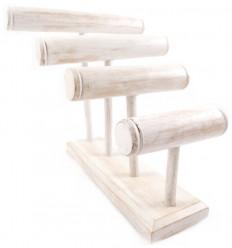Grand présentoir à bracelets/montres 4 joncs en bois finition blanc cérusé