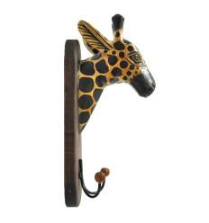 Patère/Trophée Mural Tête de Girafe en Bois Fabriqué Artisanalement