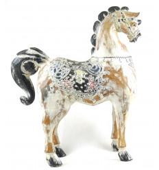 Statue de cheval en bois 50cm - finition patinée