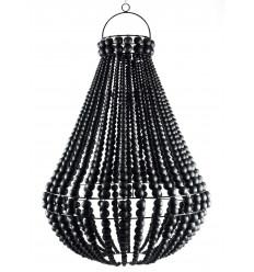 Lampadario perline nero in legno e ferro battuto artigianale ø40cm