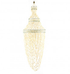 Suspension genuine seashells cowrie shells white 80cm overview