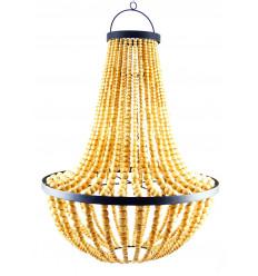 Grand lustre chandelier en perles de bois naturel verni et fer forgé artisanal ø50cm