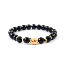 Bracelet in Onyx natural + pearl Buddha golden. Free shipping.