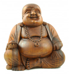 Statue, chinese Buddha laughing XL carved wooden H50cm