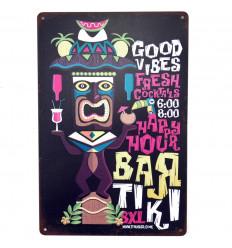 Poster Métallique Tiki Bar Décoration Murale Exotique Hawaï 30cm