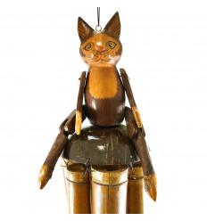 Carillon à Vent en Bambou et Noix de Coco Artisanal avec Figurine chat