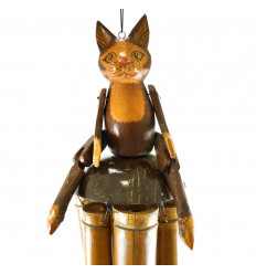 Chime Wind Bamboo and Coconut Handcrafted with Figurine cat