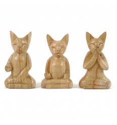 Set of 3 Cats on Raw Wood Carved Hand-12cm Fair Trade