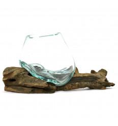 Mini Vase en Verre Soufflé sur Grande Racine en Teck Pièce Unique