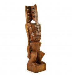 Statue Akua Kai Tiki Hawaïen 50cm en Bois de Suar Artisanal