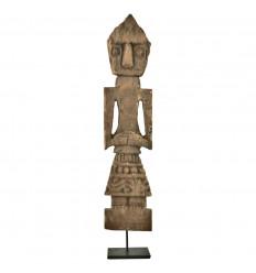 Statue Timor Antique en Bois Vieilli 50cm Sculptée Artisanalement