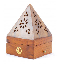 Incense holders for cones - box of incense-wood with drawer shape pyramid pattern Yin Yang