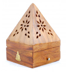 Incense holders for cones - box of incense-wood with drawer shape pyramid pattern Buddha