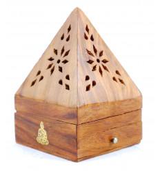Incenso titolari per coni - scatola di incenso in legno con cassetto a forma di piramide modello di Buddha