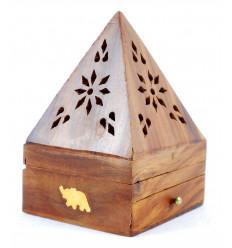 Porte-encens pour cônes - boîte à encens en bois avec tiroir forme pyramide motif Eléphant