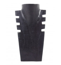 Buste cranté en bois noir 25cm