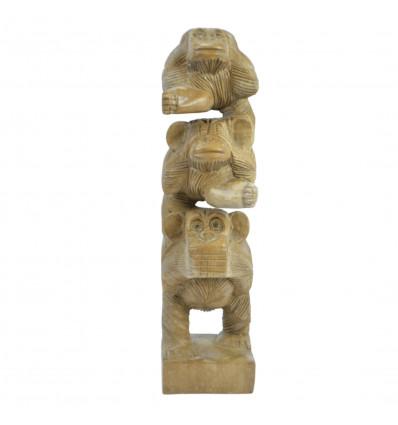 """Les 3 singes superposés """"secret du bonheur"""". Statuette en bois massif H30cm"""