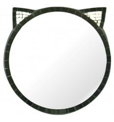 Miroir Chat Noir en Mozaïque 30cm Fabriqué Artisanalement