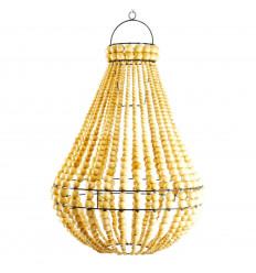 Lampadario perline di legno e ferro battuto artigianale ø40cm